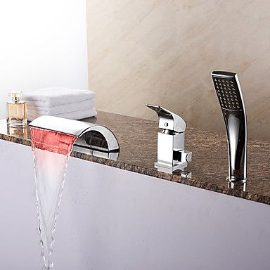 Contemporary Tub Led Waterfall Handshower With Ceramic Valve 1