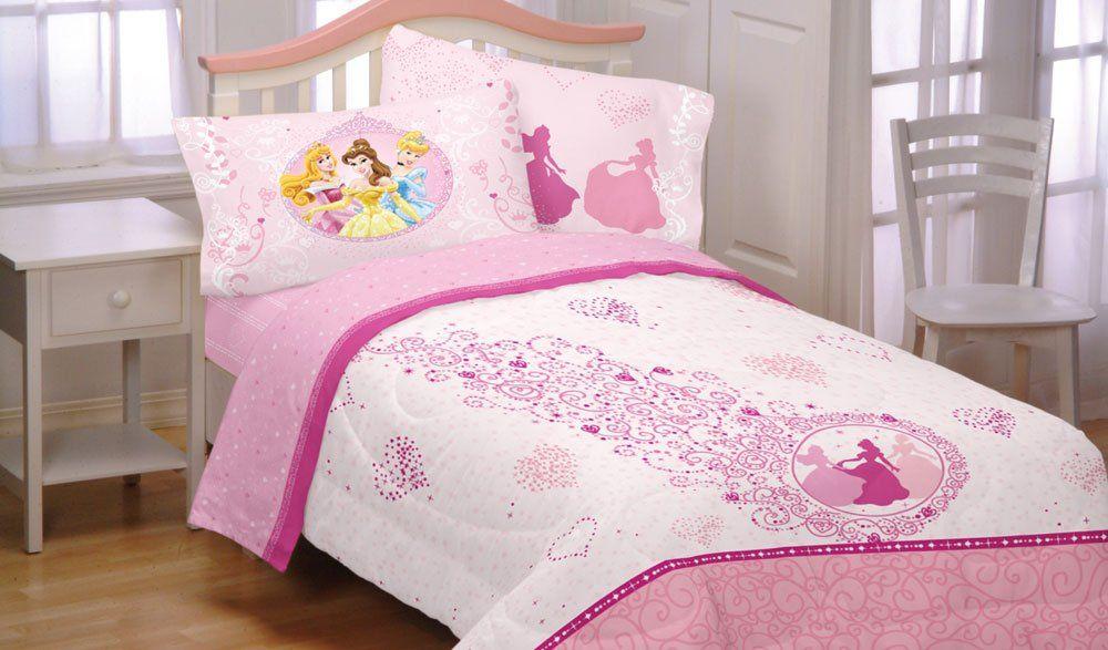 Amazon Com Pink Princess Hearts Full Bed Sheet Set 4pc Disney