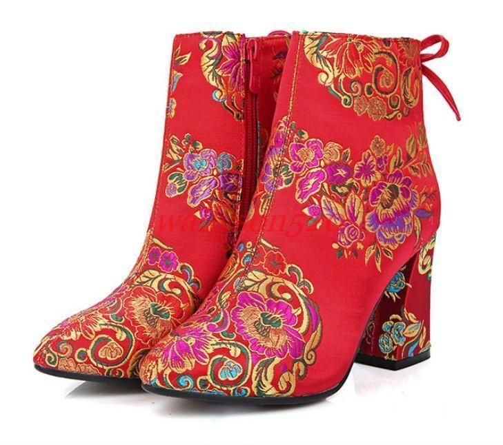 Chinese Wedding Shoes Women'S Embroidered Satin Red Ankle Boots ...