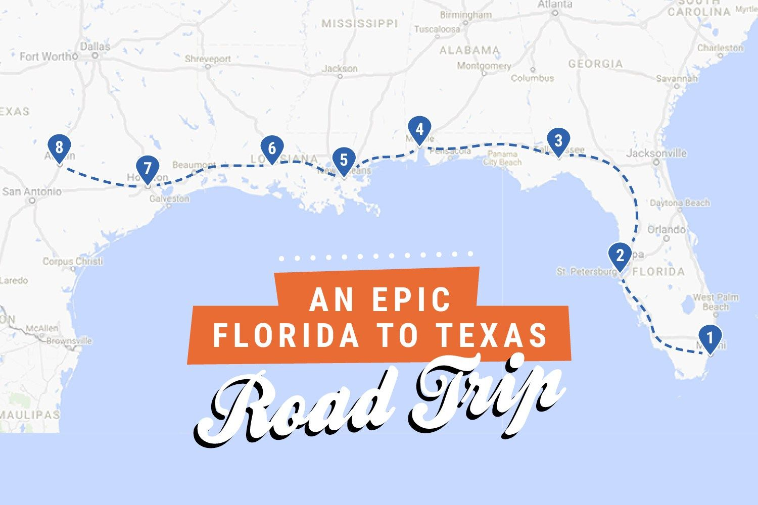 Texas To Florida Map Florida to Texas: An epic southern road trip itinerary   Road