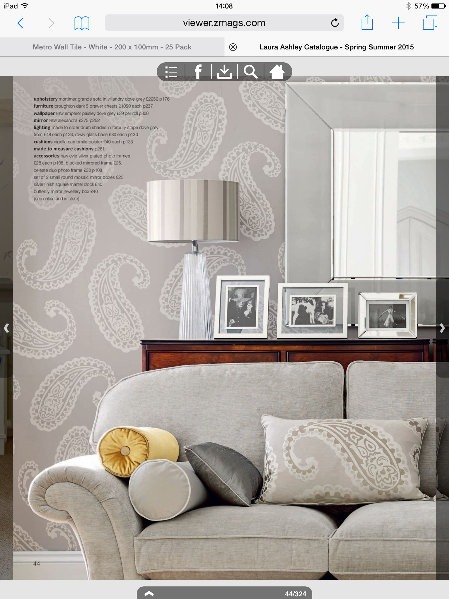 Laura ashley emperor paisley dove grey wallpaper for Grey wallpaper bedroom