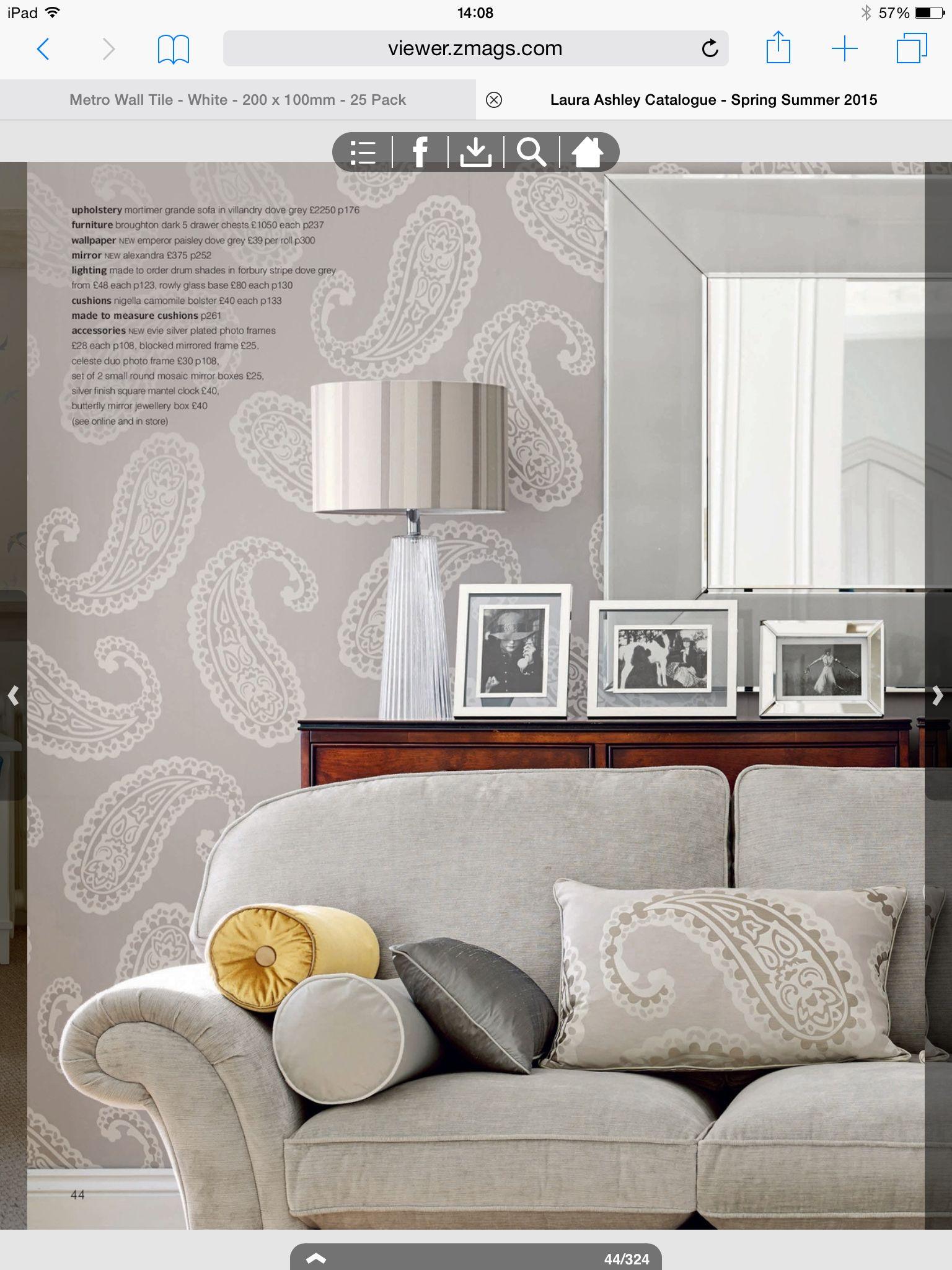 Laura Ashley Emperor Paisley Dove Grey Wallpaper U003c3