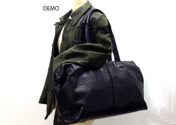Leather duffle travel bag - extra large leather carry all - mens leather  weekend bag - Black leather d880bf96680f3