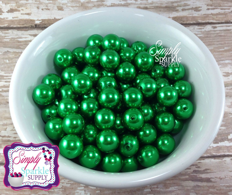 Green Pearl 12mm Beads Gumball Beads Chunky Beads Resin Beads Round Beads Plastic Beads Bubblegum Beads Bubble Gum Beads