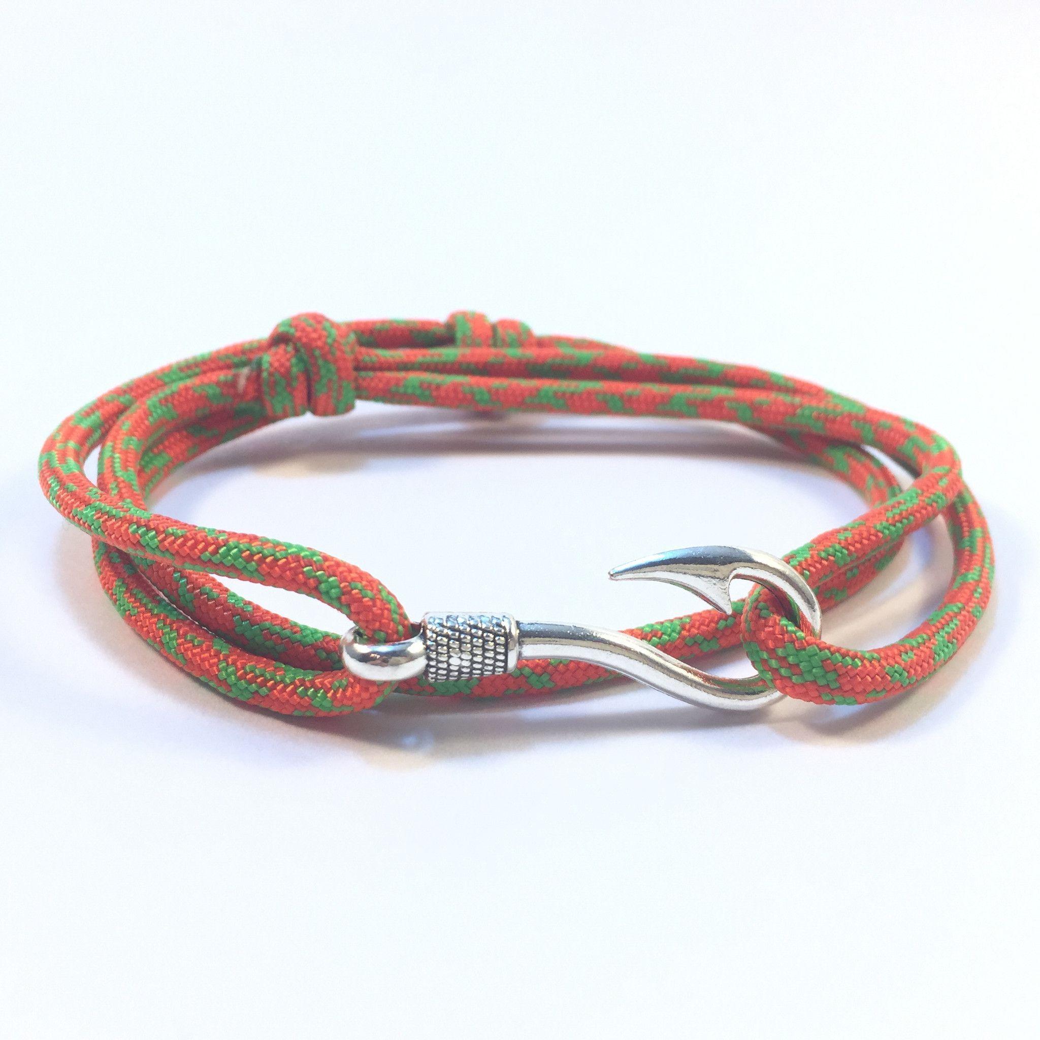 Orange Green Camo Fish Hook Adjule Paracord Bracelet