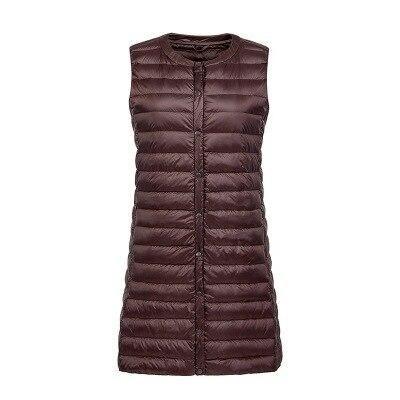 Women Autumn Winter Ultra Light Down Vest Windproof Sleeveless Long Waistcoat Fashion Warm Female Puffer Outerwear Jackets Coats #womenvest