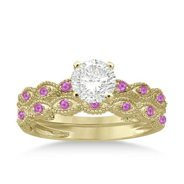 Allurez Antique Pink Sapphire Engagement Ring Set 14k Yellow Gold... ($970) ❤ liked on Polyvore