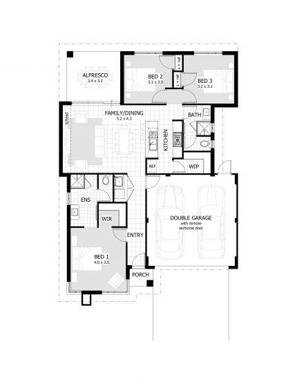 3 bedroom floor plan 12 5m width 155sqm area