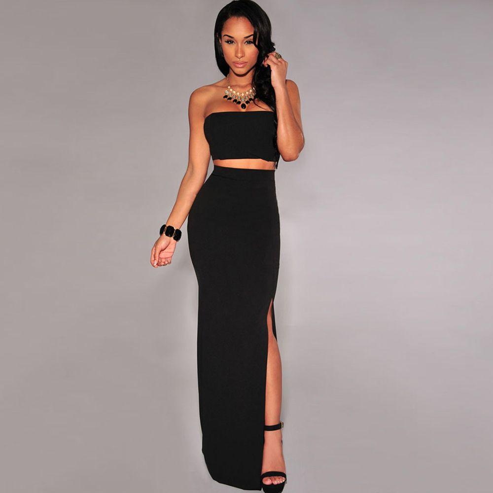 New Sexy Women Two Pieces Tube Top Back Zipper Long Skirt Side Split Twin  Set Black
