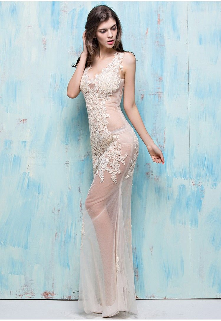Unique Sexy Mermaid V Neck Open Back Champagne Tulle Lace Sheer Prom ...