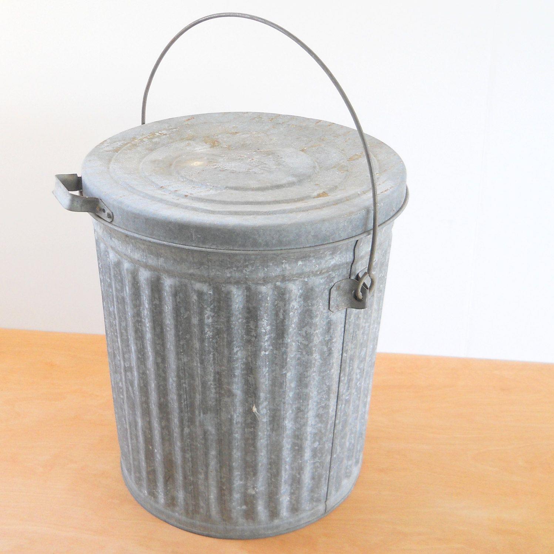 Vintage Reeves Galvanized Trash Can Industrial Rustic Garbage