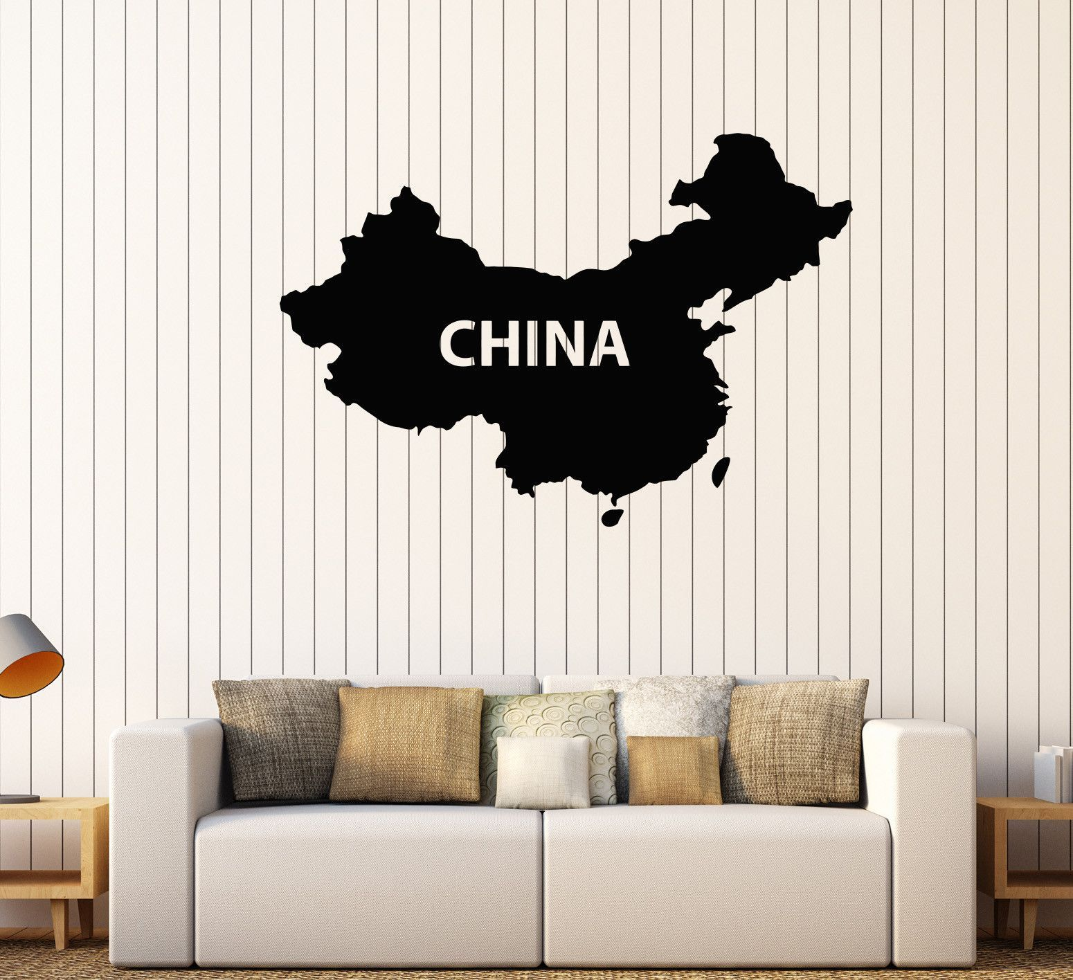 Vinyl Wall Decal China Map Chinese Asian Decor Stickers Mural - Vinyl wall decals asian