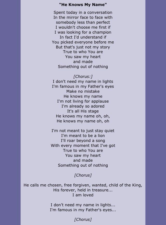 he knows my name by francesca battistelli