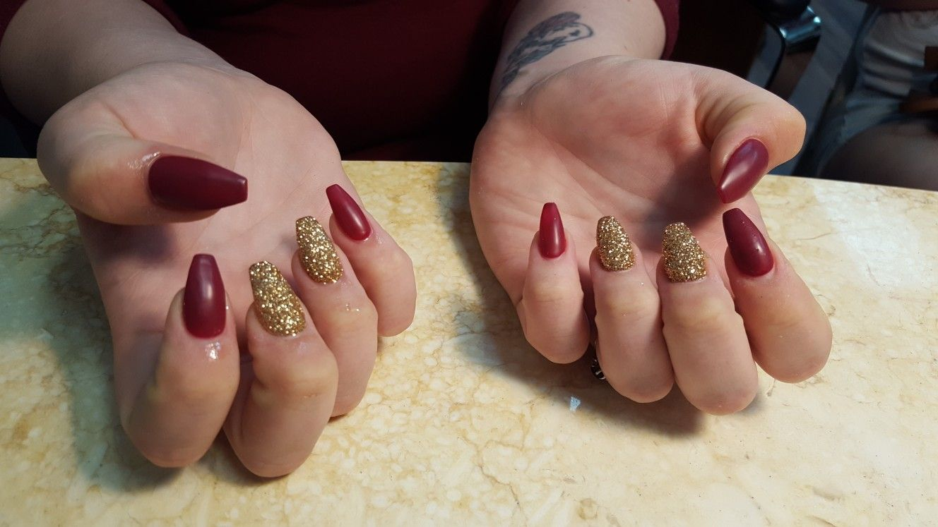 Fall Coffin Nails with Glitter dust | Nailed by Diamond | Pinterest ...