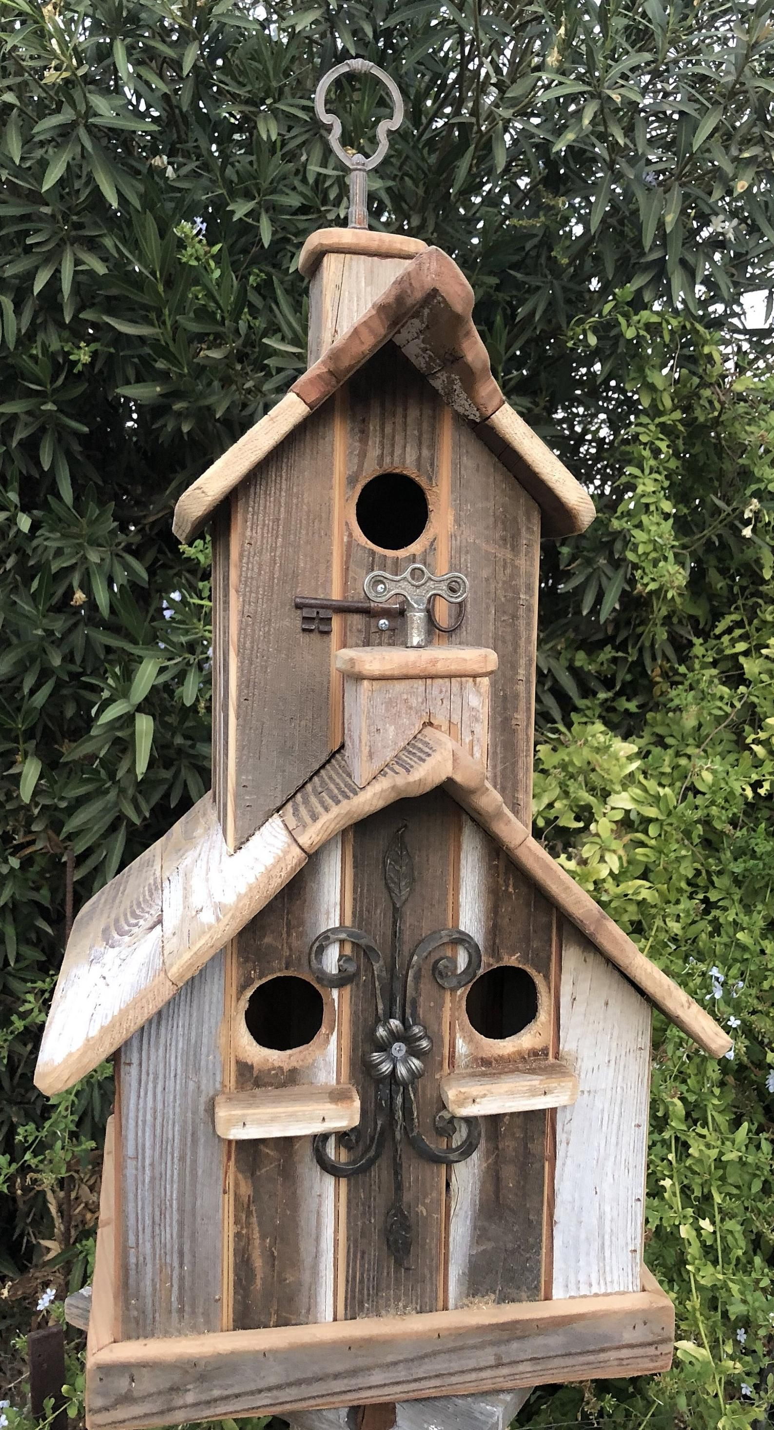 Two Story Rustic Birdhouse With Two Cupolas 3 Nesting Boxes