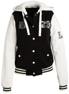 This varsity hooded jacket is great for a chilly football