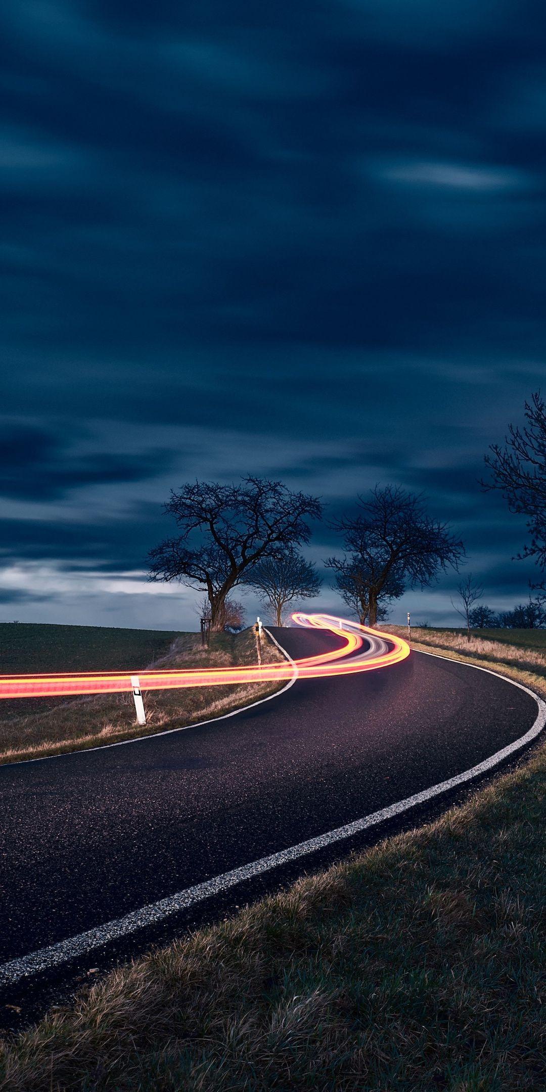 Night Landscape Highway Turn Long Exposure 1080x2160