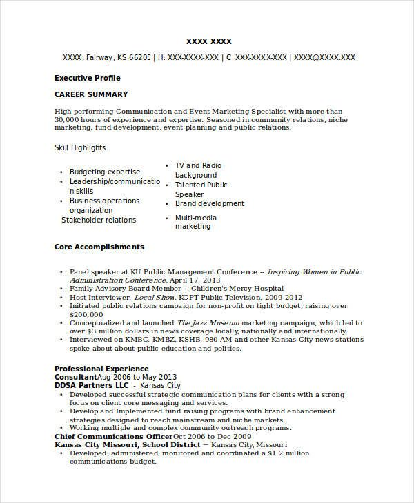 Marketing Events Specialist Resume , Marketing Resume Samples for