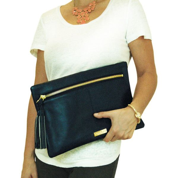 """Flat Clutch with front zipper, tassel pull and contrast lining  14""""w x 9""""h"""