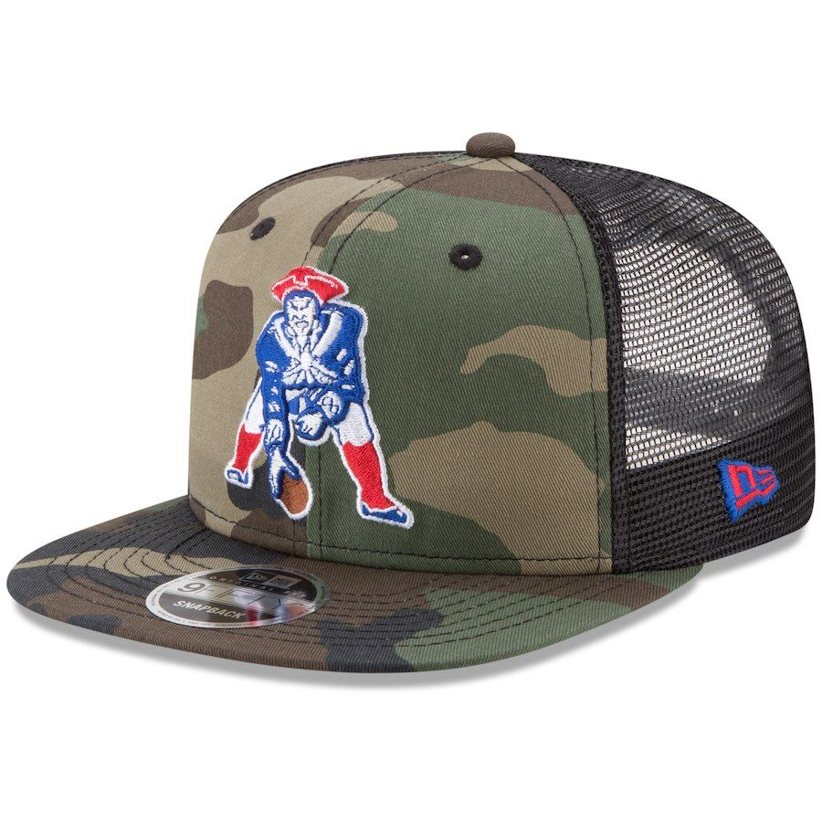 397e90c10 Men s New England Patriots New Era Woodland Camo Black Throwback Logo  Trucker 9FIFTY Snapback Adjustable Hat