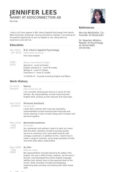 Psychology Resume Samples A Nanny Resume Examples  Pinterest  Resume Examples And Reference .