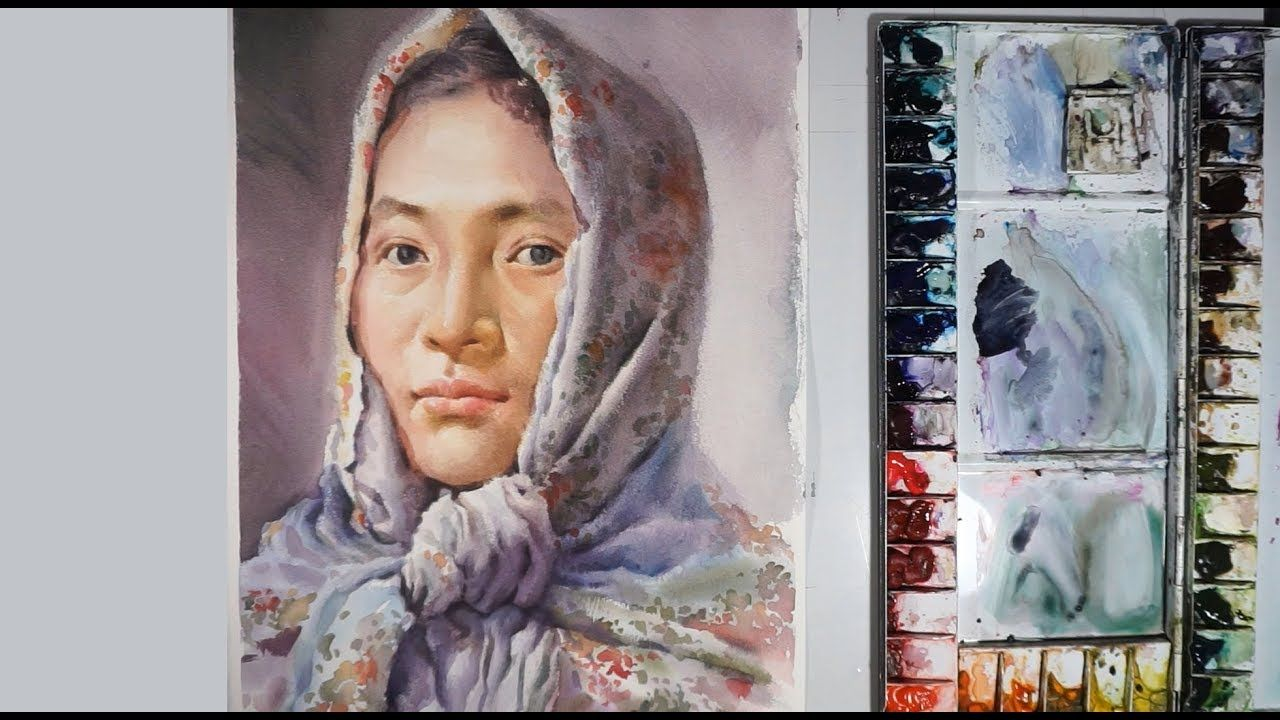 Realistic Watercolor Painting Portrait Demonstration Youtube