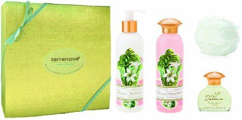 Terranova Tuberose Perfume, Lotion & Shower Gel Gift Set by Terra Nova. $43.00. Free Invigorating Body Sponge. With a retail value of $48.00, it is yours for only $43.00!. Pampering ready-made gift to save time and money!. Complimentary gift box & bow. Includes full size Lotion, Body Wash & Perfume Essence. An exquisitely pampering, ready made gift of Tuberose's most popular items.  This limited edition value set includes a full size Petal Soft Lotion, Hydrating Body Wash, P...