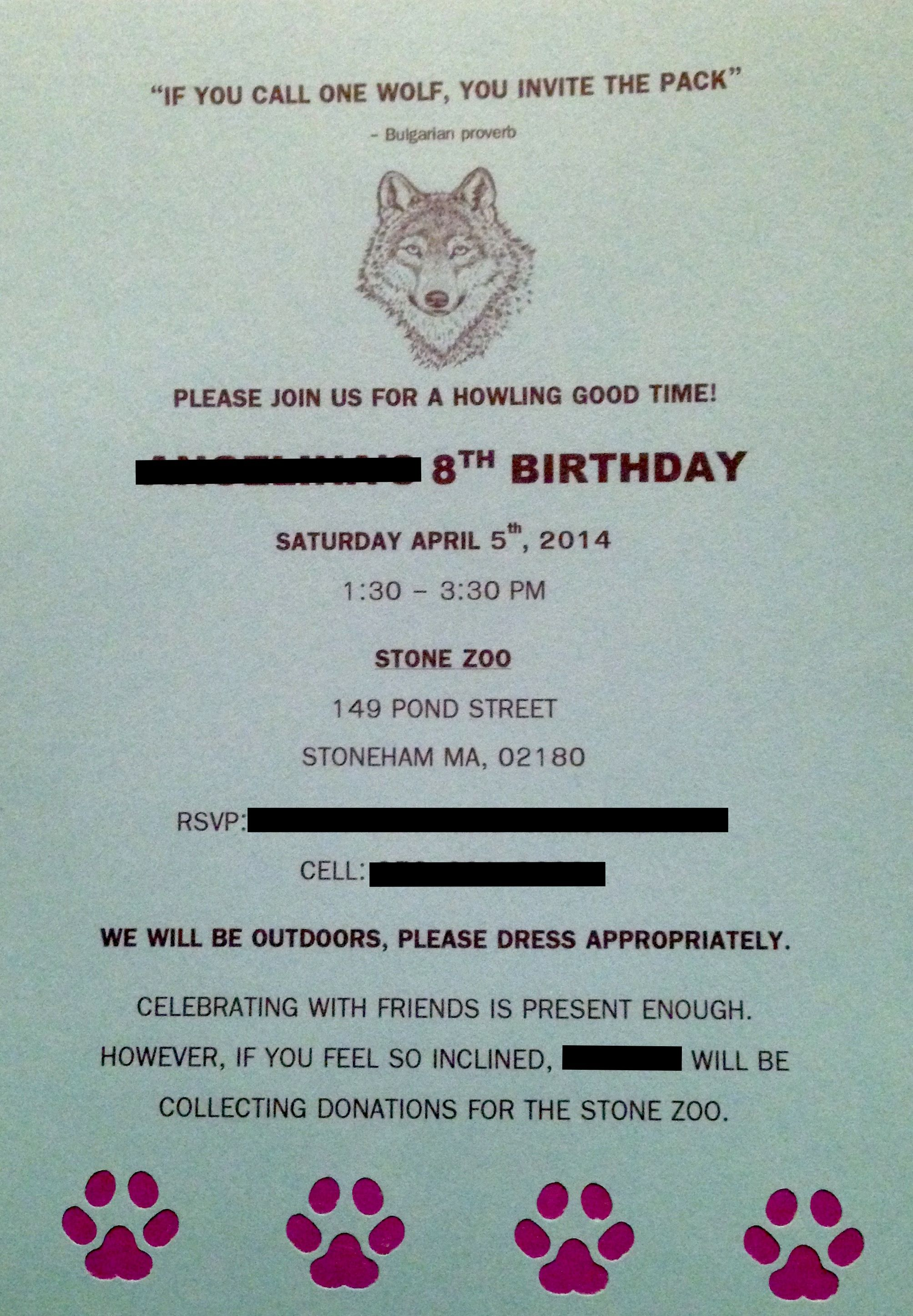 Wolf Birthday Invitation Homemade DIY Wolf Party Invites Zoo Party ...