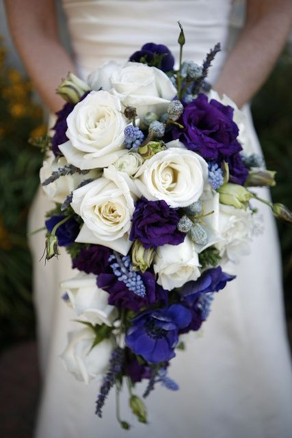 bouquet -- purple, blue, and cream