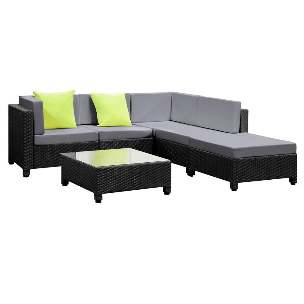 Adelphi Rattan Outdoor Lounge 6 Piece 5 Seater Grey Black