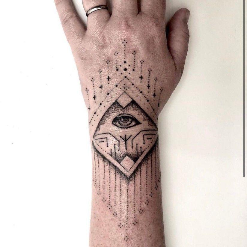 Third eye tattoo design in hand