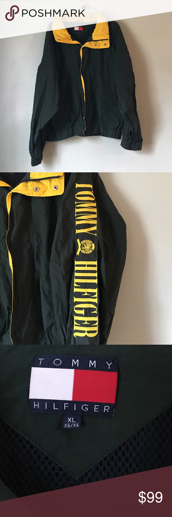 Vintage Tommy Hilfiger Windbreaker. XL Vintage Tommy Hilfiger Mens Xlarge Green Sailing Jacket , Yellow Hood , Yellow Embroidered Letters. Jacket is in Mint condition. Still looks New with no rip or stains. Tommy Hilfiger Jackets & Coats Windbreakers