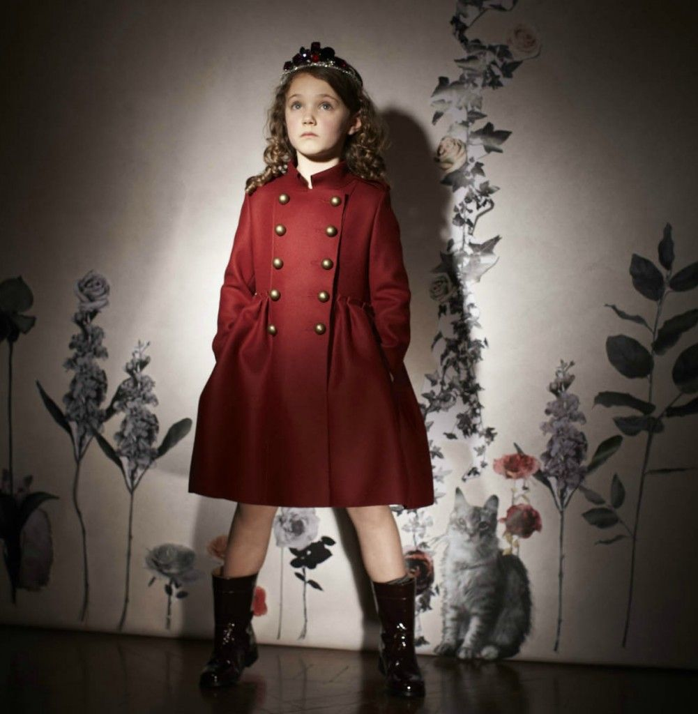 Military style for a kids red wool felt coat and patent boots from ...