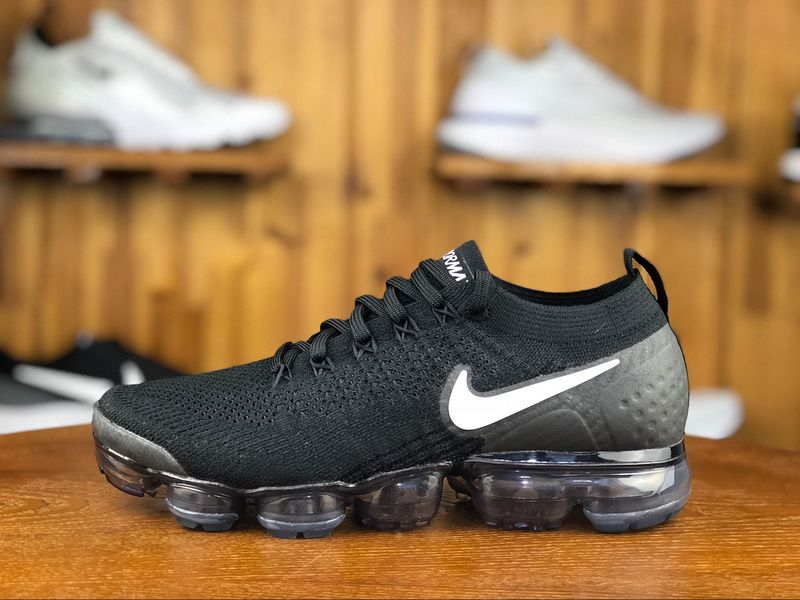 6c03f27d591 2018 Nike Air Vapormax Flyknit 2.0 Mens Sport Shoes Black White 942842-001