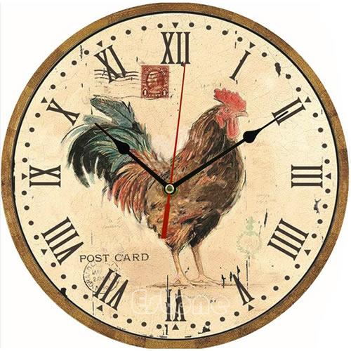 Vintage Wooden Wall Clock Large Shabby Chic Rustic Kitchen Home ...