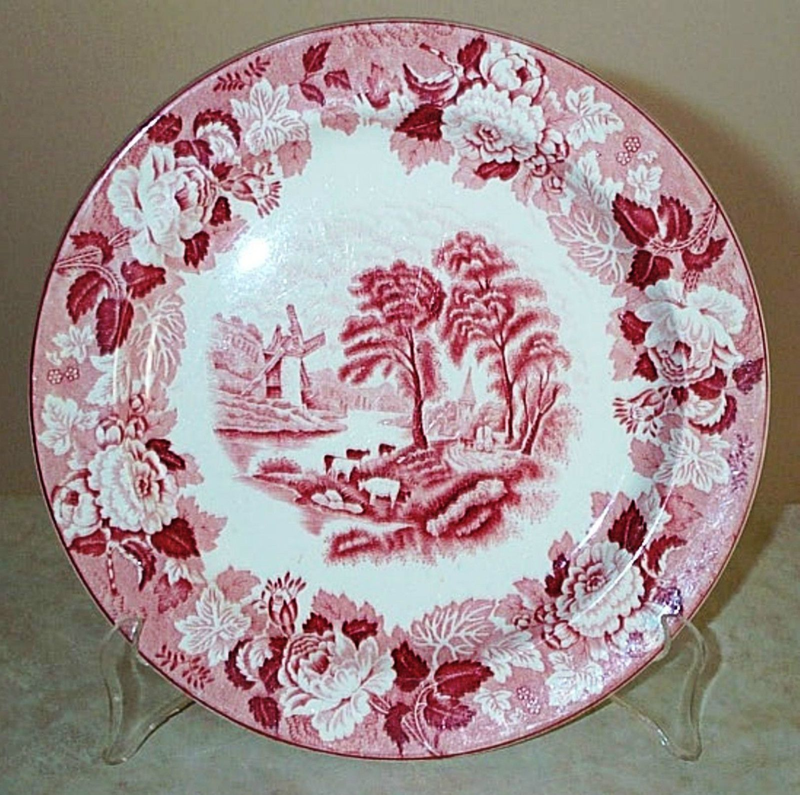 "Enoch Woods English Scenery Plate 9 1 4"" ""Dinner Cows"" Red Transferware | eBay"