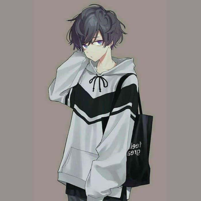 Grey Hoodie Black Bag Hair Anime Sketch Purple Background In 2020 Cute Anime Boy Anime Drawings Boy Cute Anime Guys