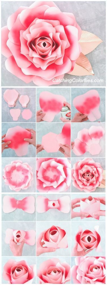 Large Paper Rose Template Giant Paper Flower Printable Template