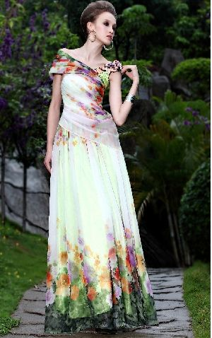 Sparkly Off-the-shoulder Chiffon Ruffles Printing Flower Floor-length A-line