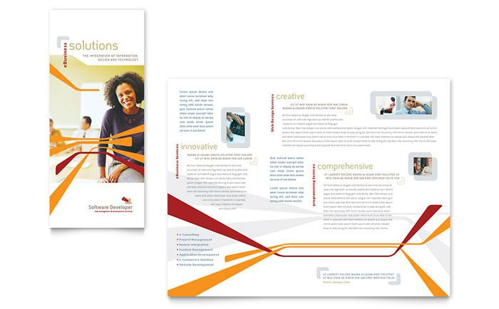 Software Developer Tri Fold Brochure Design Template By