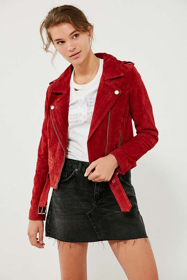 Blanknyc Red My Mind Suede Moto Jacket Wish List Clothing In