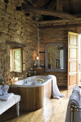 Rustic Spa Bathroom Bath In Chestnut Stone And Exposed Brick Wall W Herringbone