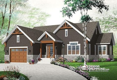 W3260-V3 - Maison style Craftsman, espace ouvert, grand îlot, foyer