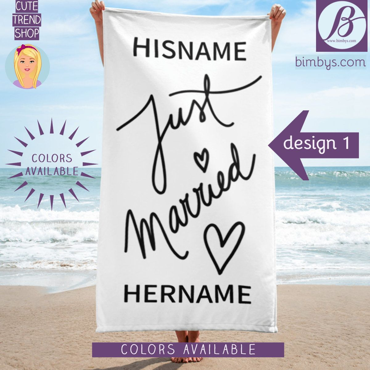 Wedding Gift Just Married Personalized Beach Towel Bride Towel