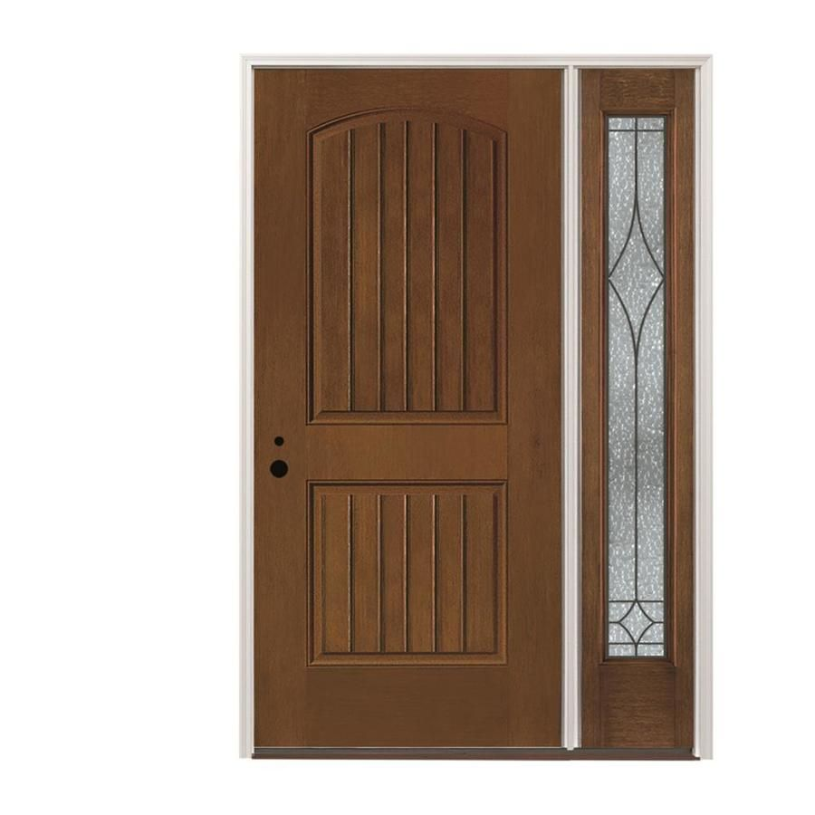 Pella Right Hand Inswing Stained Fiberglass Prehung Entry Door