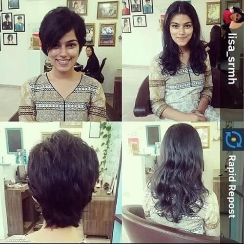 Image result for short hair girl in saree