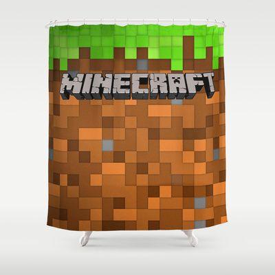 Minecraft Shower Curtain Dirt And Grass Unique Shower Curtain