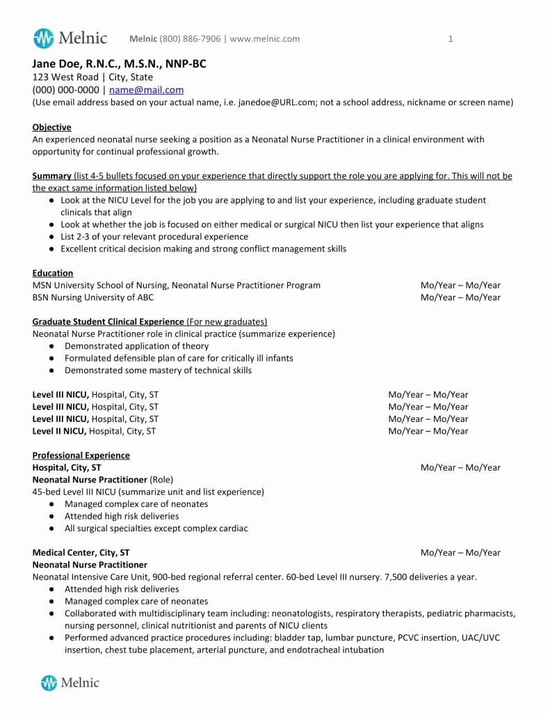 25 New Grad Nursing Resume Clinical Experience Neonatal