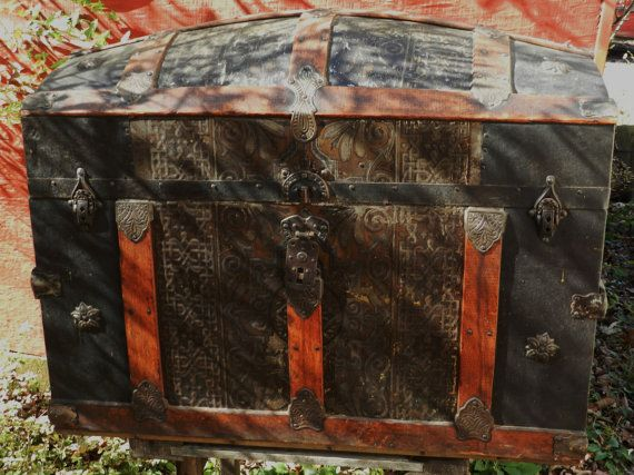 Antique Humpback Steamer / Travel Trunk  by FerryTaleTreasures, $300.00