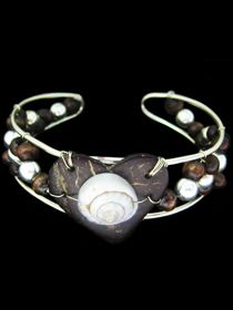 German Silver ( alpaca alloy) with Fine Silver Overlay (silver plated) With Natural Coconut and Sea Shell